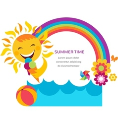 Summer card with happy sun colorful rainbow and vector