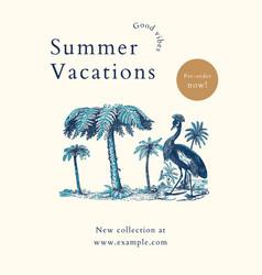 Summer shop flyer template in blue tone vector