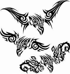 Tattoos birds of prey vector