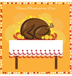 Thanksgiving day card with traditional turkey vector