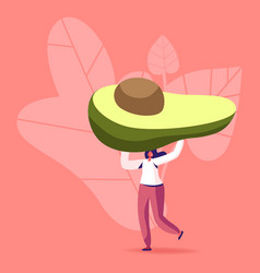 Tiny female character carry huge avocado vector