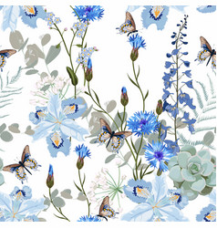 tropical blue flowers and leaves light background vector image