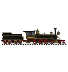 Vintage black american steam locomotive vector