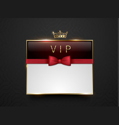 vip dark red glass label with golden frame crown vector image