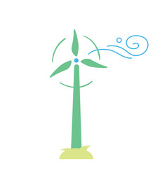 Wind turbine eco icon vector