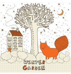 Winter Garden Fox Card vector image