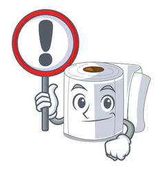 with sign cartoon toilet paper in the bathroom vector image