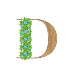 Wooden leaves letter d vector