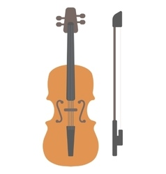 Wooden violin with bow vector image