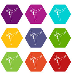 Wushu master icon set color hexahedron vector