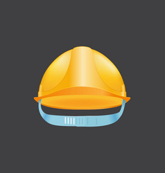 Yellow helmet safety construction hat builder vector