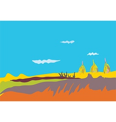 Autumn banner with fields sky vector image