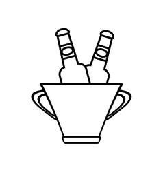 bucket beers cool ice design outline vector image