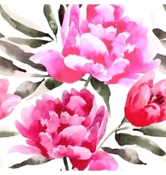 Seamless floral pattern with peonies vector image vector image