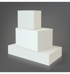 Three white empty box template without texture on vector image vector image