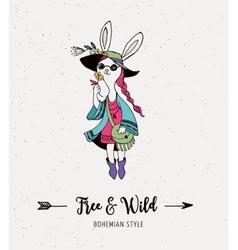 Bohemian fashion girl bunny rabbit boho style vector