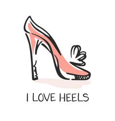 i love heels fashion emblem vector image
