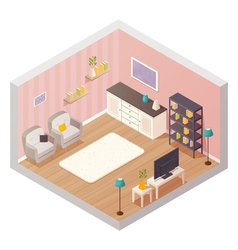 Living Room Isometric Interior vector image vector image