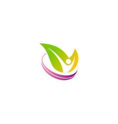 people green leaf beauty spa logo vector image
