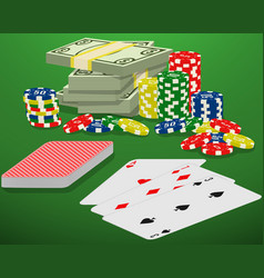 playing cards casino chips and bundle of money on vector image