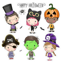 set with cute halloween kids vector image