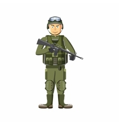 Soldier with weapons icon cartoon style vector image vector image