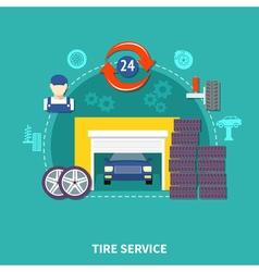Tire service flat design concept vector