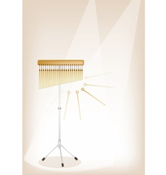 A Musical Bar Chimes on Brown Stage Background vector image