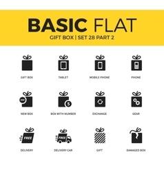 Basic set of Gift box icons vector image vector image