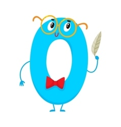 Cute and funny colorful 0 number characters vector image