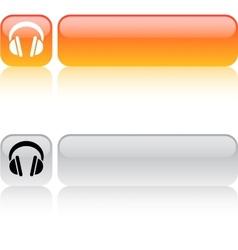 Headphones square button vector image