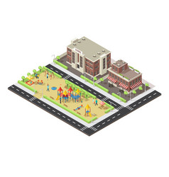 isometric city children playground template vector image