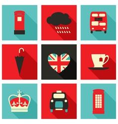 long shadow london icons set vector image vector image