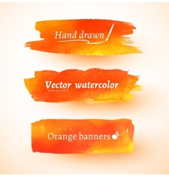 Orange watercolor banners vector image vector image