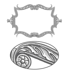 Ornate frame in vintage engraving style vector image