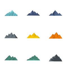 Volcanic eruption icons set flat style vector