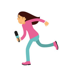 brunette female reporter character runnung with a vector image vector image