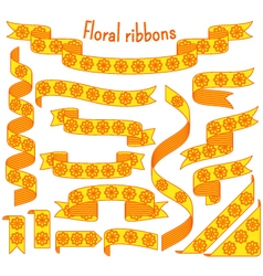 Cartoon stripped ribbons with flowers vector image