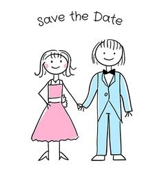Cute cartoon wedding invitation template vector image vector image