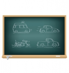 drawing cars by a chalk vector image