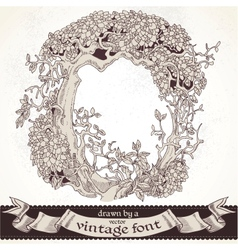 Fable forest hand drawn by a vintage font - o vector