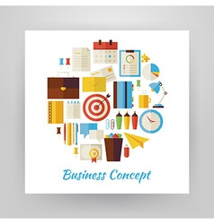 Flat Style Circle Set of Business Workplace and vector image vector image