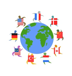 international people with flag around the world vector image vector image