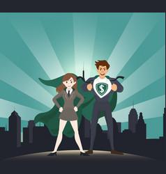 man and women superhero with sunlight vector image