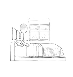 Modern bedroom with furniture vector image
