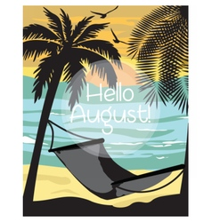Summer beach with hammock and palm trees card vector