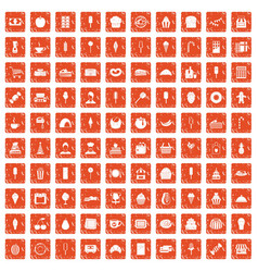 100 dessert icons set grunge orange vector