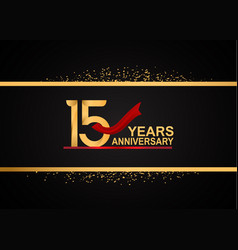 15 years anniversary logotype with golden color vector