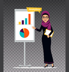 Arab woman with clipboard stands nearly flipchart vector