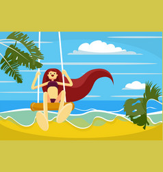 beautiful hand drawn flat style girl with long vector image